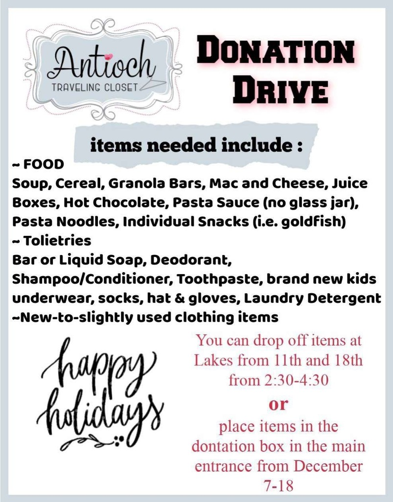 Lakes Cheer donation drive for the Antioch Traveling Closet
