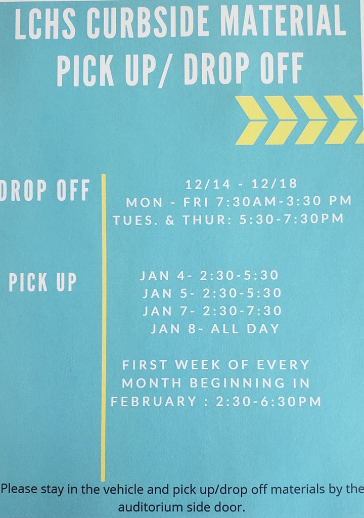 Semester 2 material pick up schedule