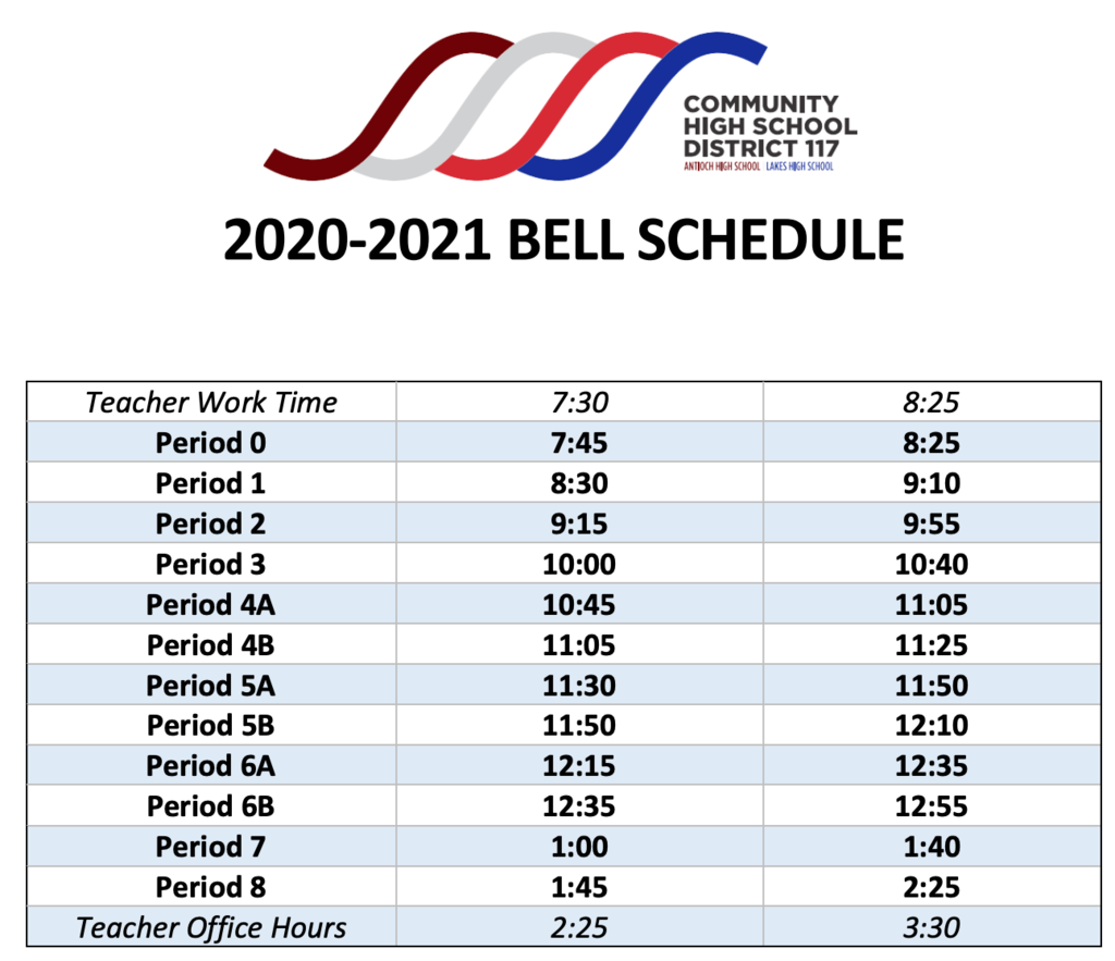 District 117 2020 2021 Bell Schedule